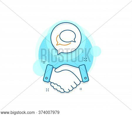 Speech Bubble Sign. Handshake Deal Complex Icon. Messenger Line Icon. Chat Message Symbol. Agreement