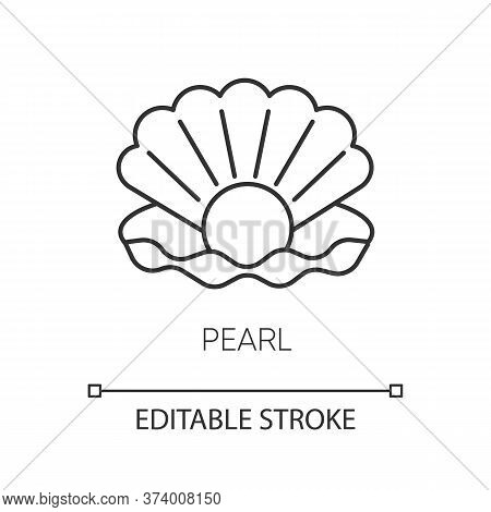 Pearl Pixel Perfect Linear Icon. Open Seashell. Brightening Effect. Component To Prevent Aging. Thin