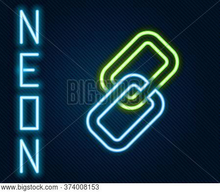 Glowing Neon Line Chain Link Icon Isolated On Black Background. Link Single. Colorful Outline Concep
