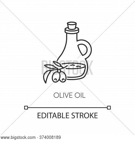 Olive Oil Pixel Perfect Linear Icon. Vegan Component. Food Seasoning. Extra Virgin Oil. Thin Line Cu