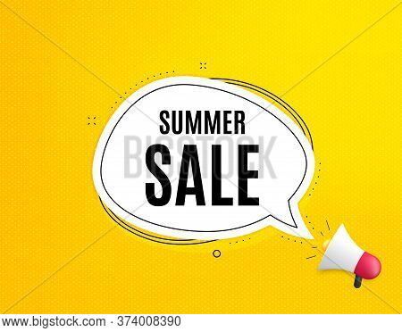 Summer Sale. Megaphone Banner With Chat Bubble. Special Offer Price Sign. Advertising Discounts Symb