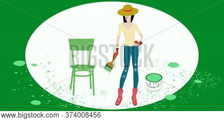 Woman Paints A Chair With A Paint Brush - Vector. Banner. Diy Home Repair.