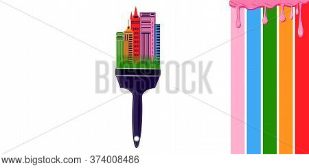 Abstract Paint Brush With City Buildings, Drops Of Flowing Paint - Vector. Banner. Diy Home Repair.