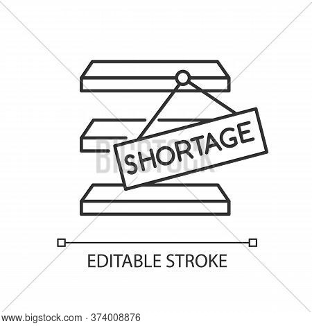 Stock Shortage Pixel Perfect Linear Icon. Merchandise Lack, Goods Limit, Empty Storehouse. Thin Line
