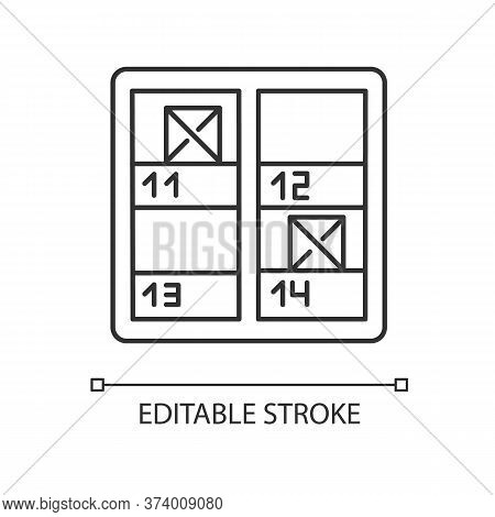 Inventory Control Pixel Perfect Linear Icon. Stock Checking. Stocktaking, Supply Chain Management. T