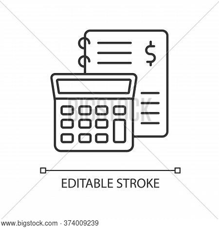 Financial Accounting Pixel Perfect Linear Icon. Inventory Management, Bookkeeping, Audit. Thin Line