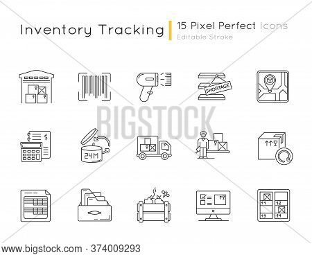 Inventory Tracking Pixel Perfect Linear Icons Set. Warehousing, Goods Receipt And Return, Inventory.