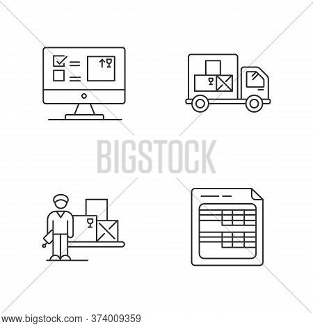 Storekeeping And Inventory Tracking System Pixel Perfect Linear Icons Set. Goods Quantity Control. C