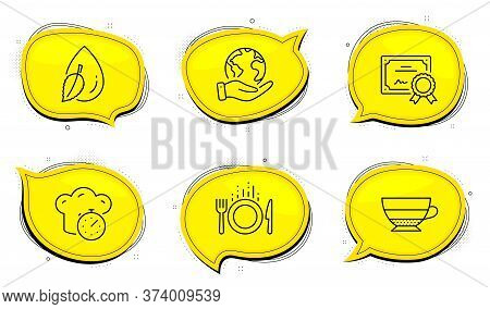 Food Sign. Diploma Certificate, Save Planet Chat Bubbles. Americano, Cooking Timer And Water Drop Li