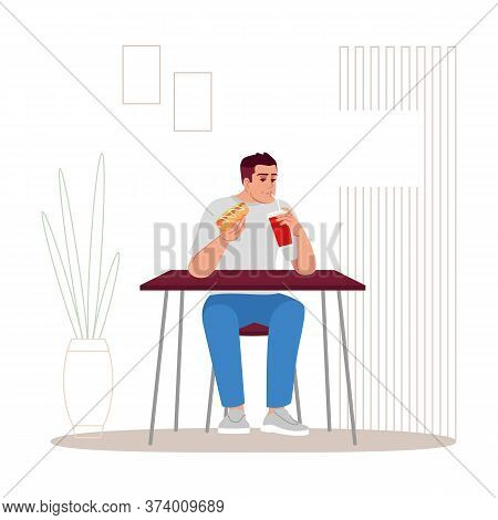 Guy Eating Hot Dog With Soda Semi Flat Rgb Color Vector Illustration. High Calorie Snacks Consumptio
