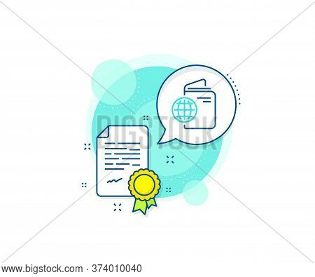 Trip Id Document Cover Sign. Certification Complex Icon. Travel Passport Line Icon. Abroad Holidays