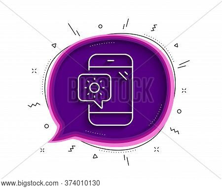Weather Phone Line Icon. Chat Bubble With Shadow. Travel Device Sign. Holidays Symbol. Thin Line Wea