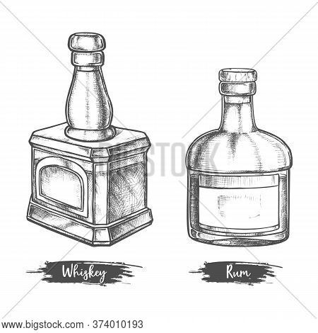 Alcohol Drink Bottles Sketch Of Whiskey And Rum