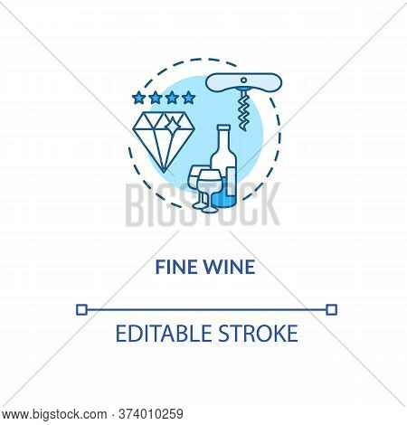 Fine Wine Concept Icon. Vintage Alcohol Drink, Premium Quality Winemaking Idea Thin Line Illustratio