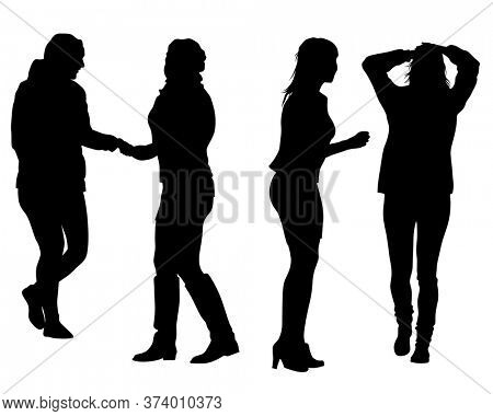 Young women talk to each other. Isolated silhouettes on a white background. Femenism Theme