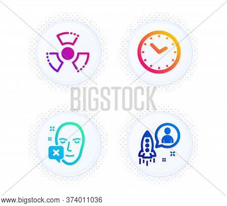 Face Declined, Time And Chemical Hazard Icons Simple Set. Button With Halftone Dots. Startup Sign. I