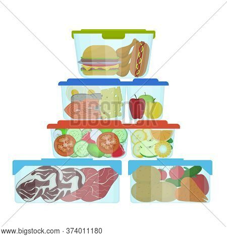 Cartoon Color Plastic Containers With Food Set Include Of Fruit, Tomato And Cheese. Vector Illustrat