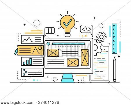 Web Development Concept Contour Linear Style Include Of Computer Screen, Mobile And Pencil. Vector I