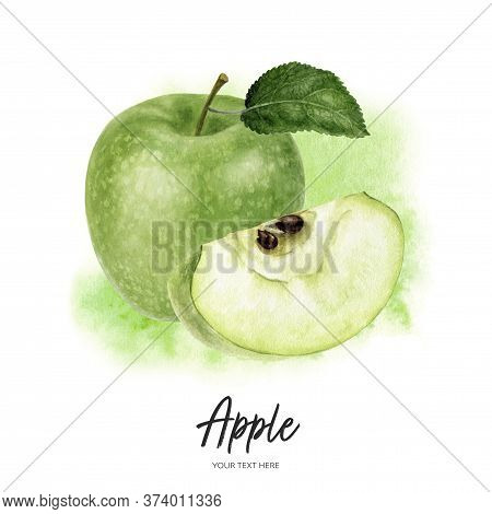 Granny Smith Green Apple With Leaf Composition Watercolor Hand Drawn Illustration On Watercolor Spla