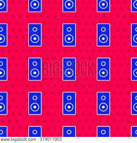 Blue Stereo Speaker Icon Isolated Seamless Pattern On Red Background. Sound System Speakers. Music I