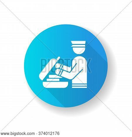 Security Check Luggage Blue Flat Design Long Shadow Glyph Icon. Safe Control For Baggage. Passenger