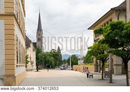 Vaduz, Fl / Liechtenstein - 16 June 2020: View Of The City Center Of Vaduz With The St. Florin Churc