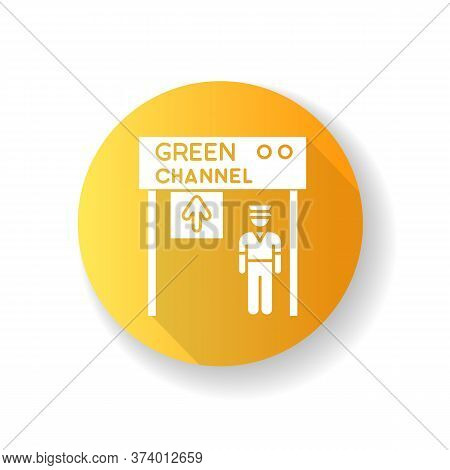 Green Channel Yellow Flat Design Long Shadow Glyph Icon. Airport Terminal Checkpoint. Security At En