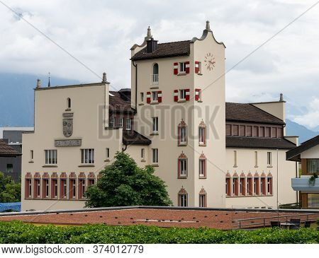 Vaduz, Fl / Liechtenstein - 16 June 2020: View Of The City Hall Building In Vaduz In Liechtenstein