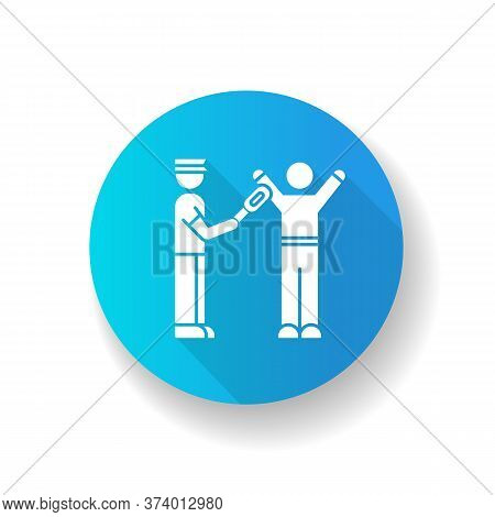 Body Scanning Blue Flat Design Long Shadow Glyph Icon. Airport Security With Metal Detector. Passeng