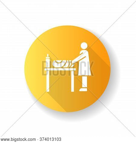 Changing Table Yellow Flat Design Long Shadow Glyph Icon. Mother Changing Diapers For Baby. Caregive