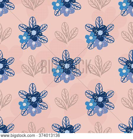 Wild Forget-me-not Flowers Seamless Vector Pattern Background. Backdrop Of Pink And Blue Floral Bouq