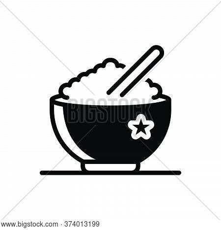 Black Solid Icon For Rice Food Bowl Ingredient Steamed Healthy Cooked