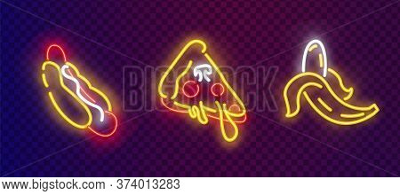 Pop Art Icons Set. Pop Art Neon Sign. Bright Signboard, Light Banner. Neon Isolated Icon, Emblem. Ho