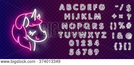 Unicorn Neon Sign. Glowing Neon Unicorn On Dark Blue Brick Background. Vector Illustration Can Be Us