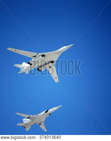 Moscow, Russia - June 24,2020: The Group Of Strategic Missile Carriers Tu-22M3 With Variable Wing Ge