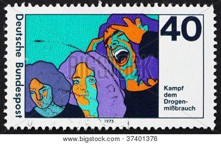 Postage stamp Germany 1975 Three Stages of Drug Addiction