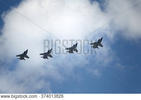 Moscow, Russia - June 24, 2020: Fifth-generation Russian Multi-purpose Fighters Su-57 During Air Par