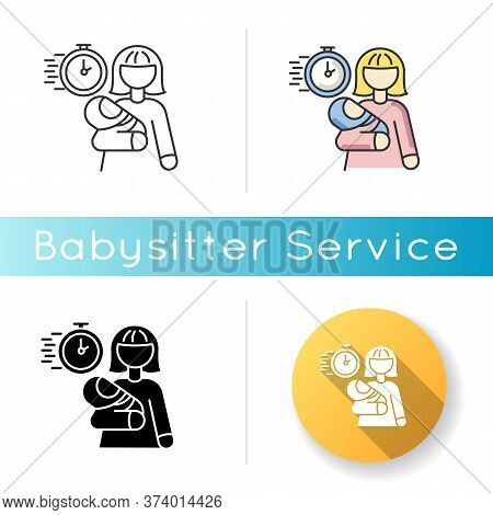 Emergency Babysitter Icon. Babysitting Service Worker. Urgent Day Care Help. Quick Assistance With I