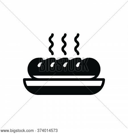 Black Solid Icon For Bread Food Edible Eatable Comestible Pabulary