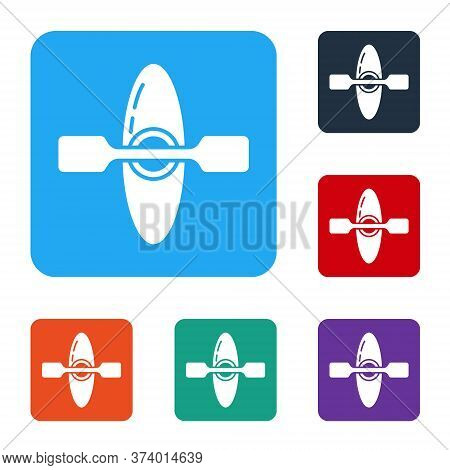 White Kayak And Paddle Icon Isolated On White Background. Kayak And Canoe For Fishing And Tourism. O