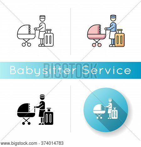 Hotel Sitter Icon. Professional Babysitting Service. Help With Infant Kids While On Vacation. Day Ca