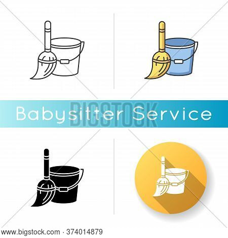 Household Duties Icon. Mop And Bucket. Cleaning Floor Utensils. Maintenance Supply. Home Chores. Tid