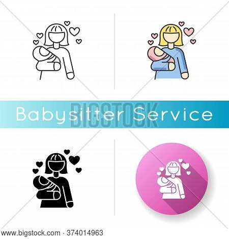 Babylover Icon. Parenthood And Motherhood. Woman For Babysitting. Mother With Son. Mom With Daughter