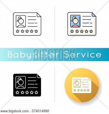 Babysitter Certificate Icon. Professional Employee. Five Star Recommendation. Woman Candidate With W