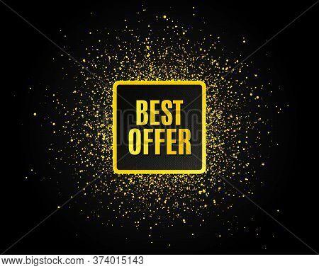 Best Offer. Golden Glitter Pattern. Special Price Sale Sign. Advertising Discounts Symbol. Black Ban