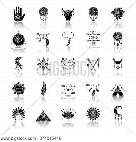 Boho Style Drop Shadow Black Glyph Icons Set. Native American Indian Amulets. Dreamcatcher Ethnic Ch