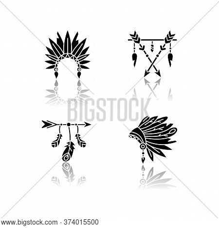 Native American Indian Hat And Amulet Drop Shadow Black Glyph Icons Set. Tribe Chief Headdress With