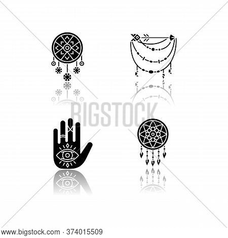 Accessories In Boho Style Drop Shadow Black Glyph Icons Set. Palmistry, Witchcraft And Esoteric Amul