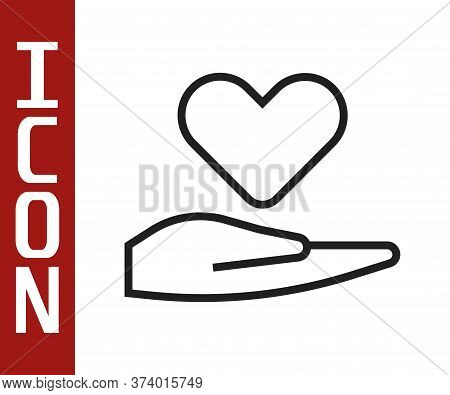 Black Line Heart On Hand Icon Isolated On White Background. Hand Giving Love Symbol. Valentines Day