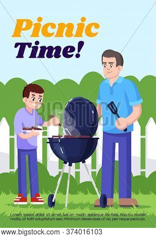 Picnic Time Poster Template. Commercial Flyer Design With Semi Flat Illustration. Vector Cartoon Pro